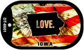 "Iowa Love Dog Tag Kit 2"" Metal Novelty"