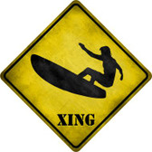 Surfer in Action Xing Novelty Metal Crossing Sign