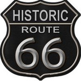 Historic Route 66 Black Leather Highway Shield Novelty Metal Magnet HSM-559