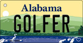 Golfer Alabama Background Key Chain Metal Novelty