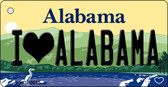 I Love Alabama Alabama Background Key Chain Metal Novelty