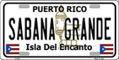 Sabana Grande Puerto Rico Metal Novelty License Plate LP-2871