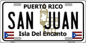 San Juan Puerto Rico Metal Novelty License Plate LP-2874