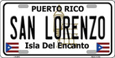 San Lorenzo Puerto Rico Metal Novelty License Plate LP-2875
