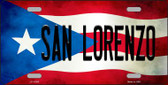 San Lorenzo Puerto Rico Flag Background License Plate Metal Novelty