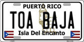 Toa Baja Puerto Rico Metal Novelty License Plate LP-2879