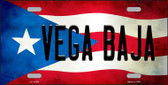 Vega Baja Puerto Rico Flag Background License Plate Metal Novelty