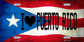 I Love Puerto Rico Flag Background License Plate Metal Novelty