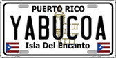 Yabucoa Puerto Rico Metal Novelty License Plate LP-2886