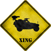 Truck With Mounted Back Weapon Xing Novelty Metal Crossing Sign