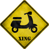 Moped Xing Novelty Metal Crossing Sign