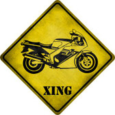 High Speed Motorcycle Xing Novelty Metal Crossing Sign