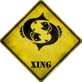 Pisces Zodiac Animal Xing Novelty Metal Crossing Sign