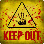 Keep Out Triangle With Handprint and Blood Novelty Metal Square Sign