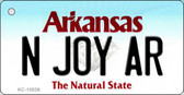 N Joy AR Arkansas Background Key Chain Metal Novelty