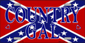 Confederate Country Gal Novelty Metal License Plate