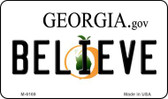 Believe Georgia State License Plate Novelty Magnet M-6169