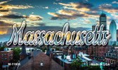 Massachusetts Sunset Skyline Magnet M-11606