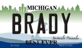 Brady Michigan State License Plate Novelty Magnet M-11025