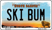 Ski Bum North Dakota State License Plate Magnet M-10737