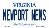 Newport News Virginia State License Plate Magnet M-10110
