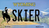Skier Wyoming State License Plate Magnet M-10539