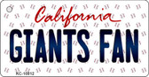Giants Fan California State License Plate Key Chain KC-10812