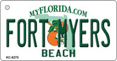 Fort Myers Beach Florida State License Plate Key Chain KC-8270