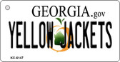 Yellow Jackets Georgia State License Plate Novelty Key Chain KC-6147