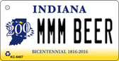 MMM Beer Indiana State License Plate Novelty Key Chain KC-6407