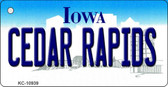 Cedar Rapids Iowa State License Plate Novelty Key Chain KC-10939