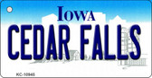 Cedar Falls Iowa State License Plate Novelty Key Chain KC-10945