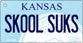Skool Suks Kansas State License Plate Novelty Key Chain KC-6636