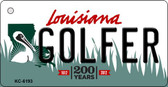 Golfer Louisiana State License Plate Novelty Key Chain KC-6193