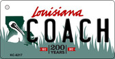 Coach Louisiana State License Plate Novelty Key Chain KC-6217