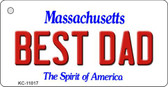Best Dad Massachusetts State License Plate Key Chain KC-11017