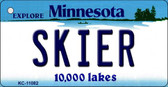 Skier Minnesota State License Plate Novelty Key Chain KC-11082