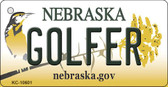 Golfer Nebraska State License Plate Novelty Key Chain KC-10601
