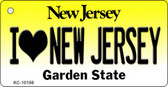 I Love New Jersey New Jersey State License Plate Key Chain KC-10156