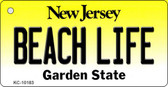 Beach Life New Jersey State License Plate Key Chain KC-10183