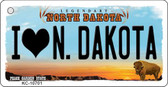 I Love N Dakota State License Plate Key Chain KC-10701