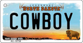 Cowboy North Dakota State License Plate Key Chain KC-10734
