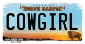 Cowgirl North Dakota State License Plate Key Chain KC-10735