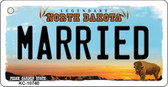 Married North Dakota State License Plate Key Chain KC-10740