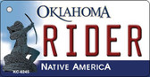 Rider Oklahoma State License Plate Novelty Key Chain KC-6245