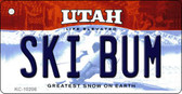 Ski Bum Utah State License Plate Key Chain KC-10206