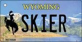 Skier Wyoming State License Plate Key Chain KC-10539