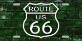 Route 66 Green Brick Wall Novelty License Plate LP-11457