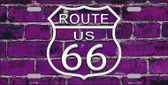 Route 66 Purple Brick Wall Novelty License Plate LP-11460