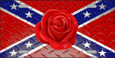 Confederate Flag With Red Rose Novelty License Plate LP-11689